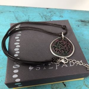 Silpada Necklace 925 Iridescent  Shell Leather